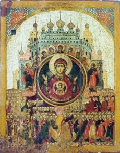 "Icon of the Theotokos, ""All of Creation Rejoices in Thee."""