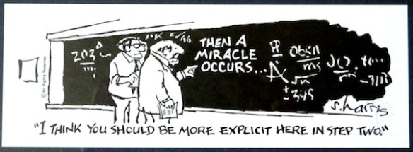"""Then a Miracle Occurs"": cartoon by Sydney Harris"