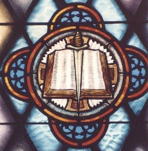 Stained Glass representation of the Sword of the Spirit