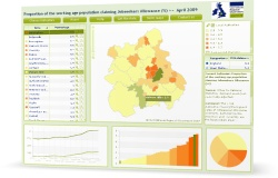 Thumbnail of interactive map on Jobseeker's Allowance data for local authorities in the West Midlands