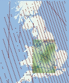 INTAMAP map showing measurements of Nitrogen dioxide across the UK
