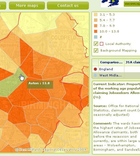 Screenshot showing Aston ward in Birmingham selected=