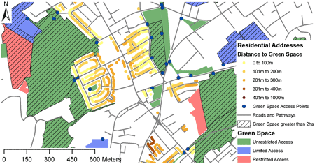 Screenshot showing distance of residential addressess to green space