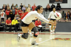Sophomore setter Carlotta Oggioni had 18 assists and seven digs for the Terps. (Courtesy of UMTerps.com)