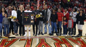 The Terps celebrate Laurin Mincy on Senior Night before the game against Indiana. (Courtesy of UMTerps.com)