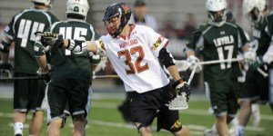 Jay Carlson celebrates after one of his three goals in the Terps victory over Loyola. (Courtesy of UMTerps.com)