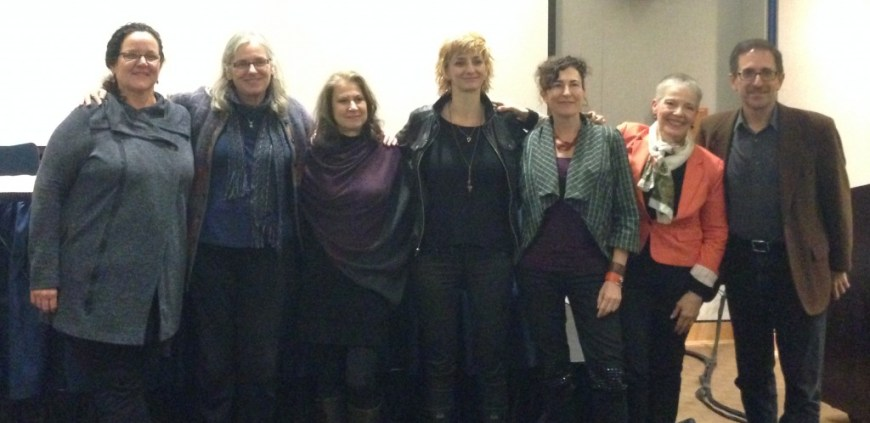 From left to right: Jane Kinney-Denning, current WNBA-NYC president, Melanie DuPuis, Eve Andree Laramee, Amy King, Marina Zurkow, Irene O'Garden, and Andrew Revkin.