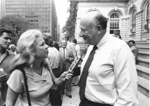 Peggy Stockton, WNEW, with NYC Mayor Edward Kotch