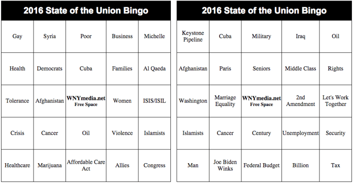 2016 State of the Union Bingo Sample