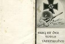 Bidprentje van een Duitse soldaat uit 1941 met uittreksel gravenregister