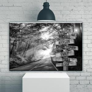 Autumn Road Multi-Names, Family Gifts, Black And White Design, Wall Decor, Custom Names Poster, Canvas, Metal Sign - Woastuff