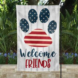 Welcome Friends Custom Flag, Dog Lovers Garden Flag, Outdoor Decor, Thick Canvas, High Quality - Woastuff