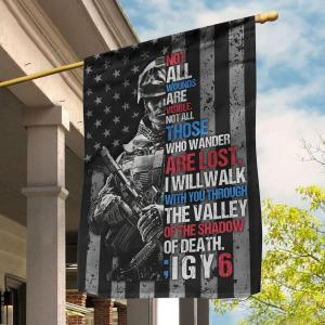 ;IGY6 Suicide Prevention PTSD Veterans Custom Flag, I Will Walk With You Through The Valley Of Touching Quote, Canvas - Woastuff