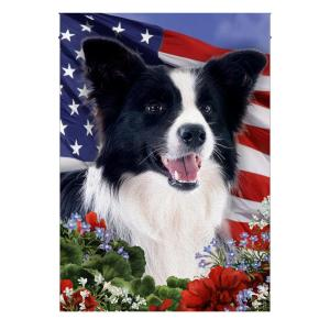 4th of July, Border Collie, Garden Flag, Canvas Material - Woastuff