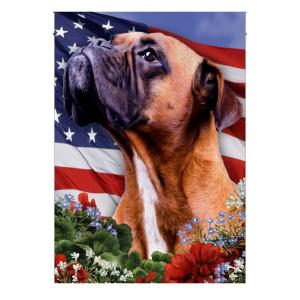 4th Of July, Boxer on American Flag, Garden Flag, Canvas Material - Woastuff