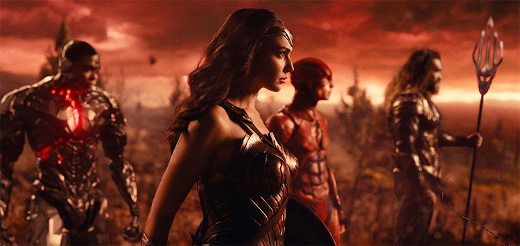 Cyborg (Ray Fisher), Wonder Woman (Gal Gadot), the Flash (Ezra Miller), and Aquaman (Jason Mamoa) Prepare for the Final Battle in Justice League