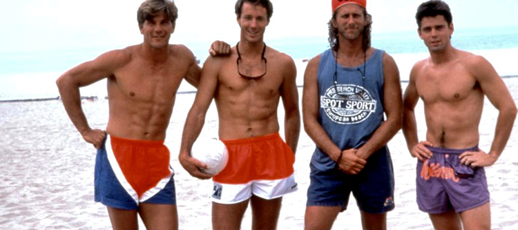 Randy Stoklos, Shinjin Smith, Peter Horton, and C. Thomas Howell in Side Out