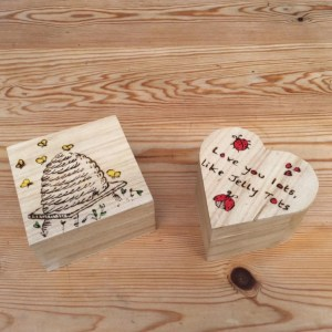 Pyrography trinket boxes