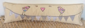 Birdies and bunting cushion pink and grey