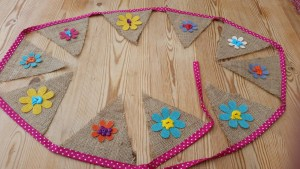 Flower bunting, hessian and pink polka dot