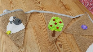 Sheep and country themed hessian bunting