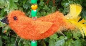 Needlefelted hanging bird