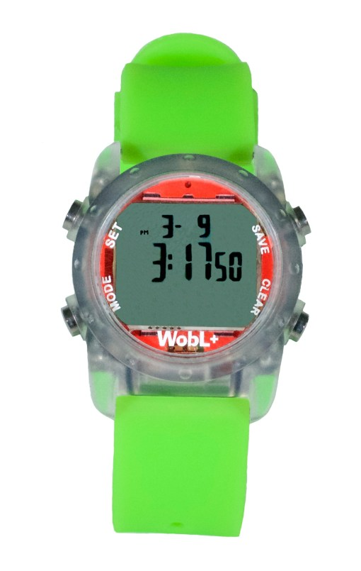 WobL+ watch, green, waterproof countdown timer watch