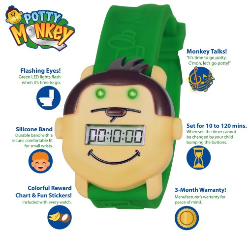 Potty Monkey watch features, alarm, countdown timer, potty reminder for potty and toilet training.