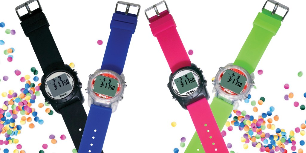 Showing all four colors of WobL+ watch: black, blue, pink, green.