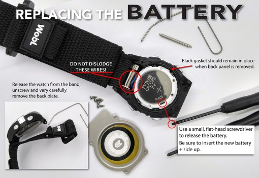 Detailed instructions: release watch from band, remove back, release and replace battery.