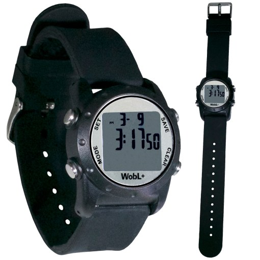 Black WobL+ watch shown buckled and full length