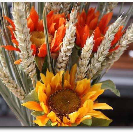 Catering Impressionen: Eine Sonnenblume als Dekoration.