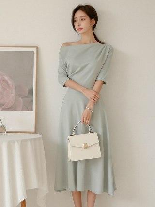 Big Swing Off-Shoulder Autumn Ruched Dress Women Slash Neck Half Sleeve Brief Ladies Dresses Plus Size Robe Longue Femme Ete