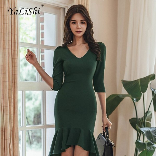 Plus Size Asymmetrical Mermaid Dress 18 Women Autumn Green Half Sleeve V-neck Knee-length Sexy Party Dress Office Club Dresses