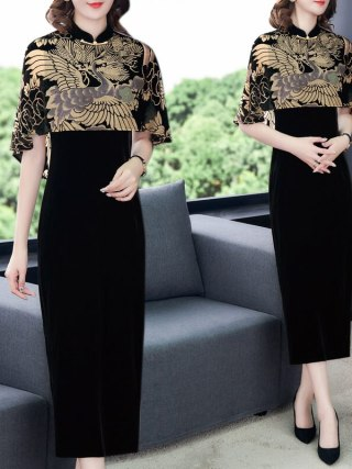 Chinese Style Clothing Gold Velvet Print Cloak Vintage Qipao Dress Women Elegant Plus Size Party Dress Femme Robe Vestidos f2626