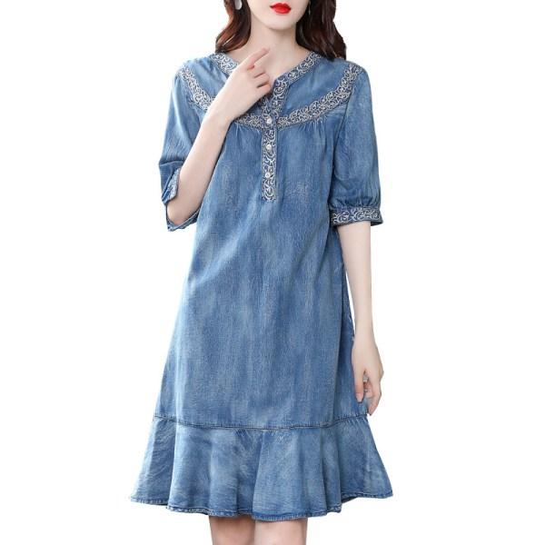 19 autumn new vintage ruffled denim dess women v-neck embroidered half sleeve a-line dress