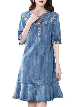 19 autumn new vintage ruffled denim dess women v-neck embroidered half sleeve a-line dress