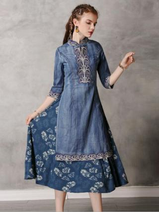19 Autumn Elegant Vintage Denim Dress Embroridery Hit Color Half Sleeve Cheongsam Party Ladies Dress Vestidos