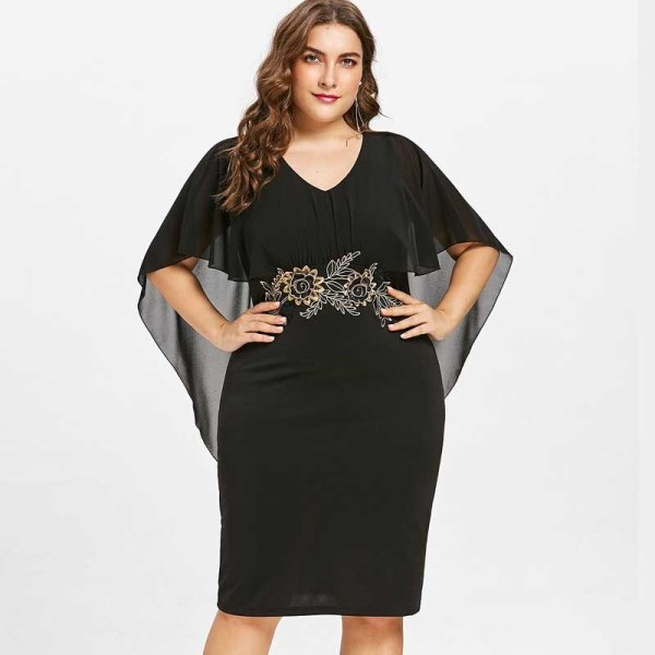 Wipalo Women Fashions Plus Size 5XL Embroidery Capelet Semi Sheer V Neck Party Dress Half Sleeves Sheath Dress Vestidos Big Size