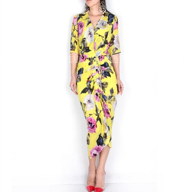 Guesod 18 Summer Women Dress Silk Rose Medium Length Silk V-Neck Folds Slim Lemon Yellow Half Sleeve Bud Silk Dress