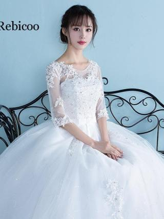 Women Dress Plus Size High Waist One Shoulder Half And Short Sleeve Pregnant Bride Dress Vestidos De Novia