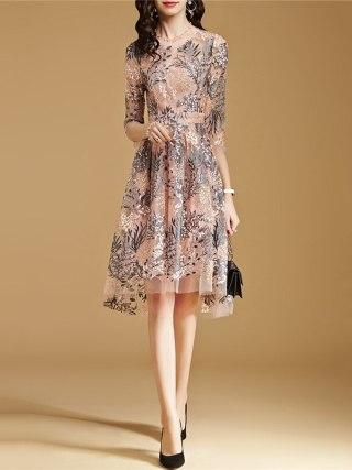 Lace Dress Pink S-2XL 19 New Spring Korean High Waist Slim A Line Dress Embroidery Mesh Half Sleeve Party Dress Vestidos CX816