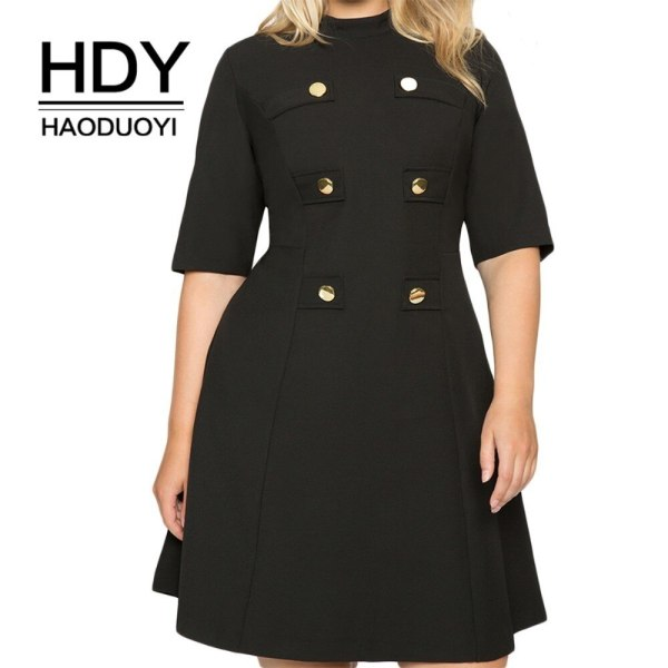 HDY Haoduoyi Large Size Metal Double-Breasted Decorative Half-High Collar Five-Point Sleeves Waist A-Line Dress