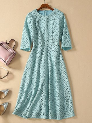 HIGH QUALITY Newest Fashion 19 Designer Runway Dress Women's Half Sleeve Embroidery Dress