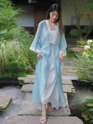 19 Autumn Chinese Retro Style Big V Collar Women White Blue Straight Dress Tea Suit Half Flare Sleeve Loose Dress Hanfu