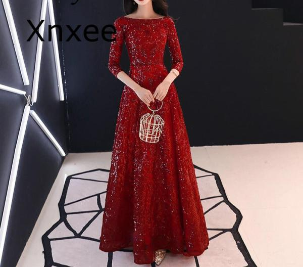 Xnxee Full Sequins Shining O-neck Half Sleeve Formal Dresses Women Vintage Wine Red Long Party Vestido de novia