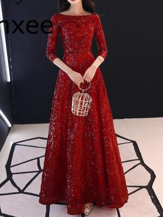 Xnxee Full Sequins Shining O-neck Half Sleeve Formal Dresses Women Vintage Wine Red Long Party Vestido de novia