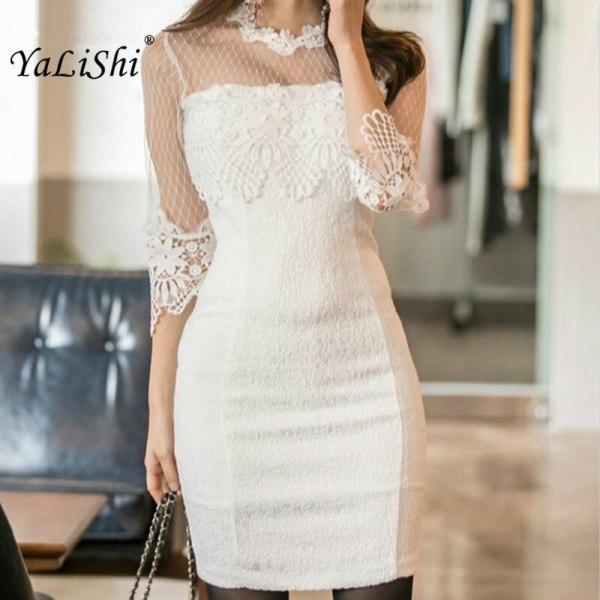 18 Summer Solid Pencil Dress Women White Half Sleeve O-neck Lace Lady Dress Elegant Office Vintage Mini Dresses Ladies Vestido