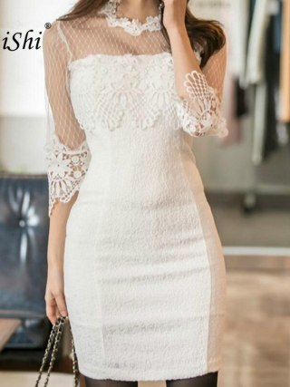 18 Summer Solid Pencil Dress Women White Half Sleeve O-neck Lace Lady Dress Elegant Office Vintage Mini Dresses Ladies Vestido