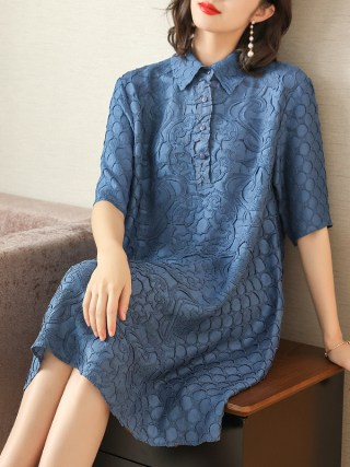 Plus Size Dress Summer Women Loose Elegant Casual Dress New Fashion Turndown Collar Half Sleeves Miyake Pleated Dresses